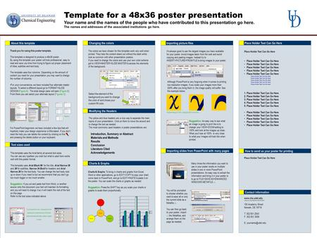 Template for a 48x36 poster presentation Your name and the names of the people who have contributed to this presentation go here. The names and addresses.