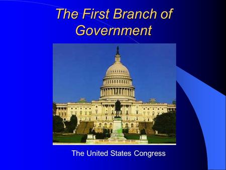 The First Branch of Government The United States Congress.