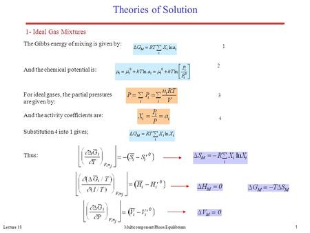 Lecture 18Multicomponent Phase Equilibrium1 Theories of Solution The Gibbs energy of mixing is given by: And the chemical potential is: For ideal gases,