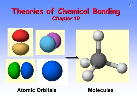 1 Theories of Chemical Bonding Chapter 10 Atomic Orbitals Molecules.