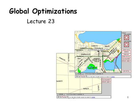 CS 536 Spring 20011 Global Optimizations Lecture 23.