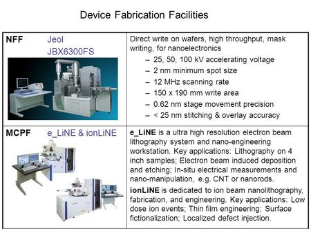 Device Fabrication Facilities NFFJeol JBX6300FS Direct write on wafers, high throughput, mask writing, for nanoelectronics –25, 50, 100 kV accelerating.