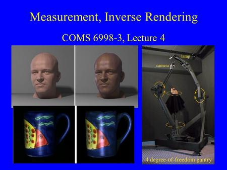 Measurement, Inverse Rendering COMS 6998-3, Lecture 4.