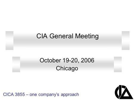 CICA 3855 – one company's approach CIA General Meeting October 19-20, 2006 Chicago.