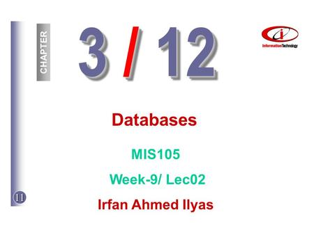 11 3 / 12 CHAPTER Databases MIS105 Week-9/ Lec02 Irfan Ahmed Ilyas.