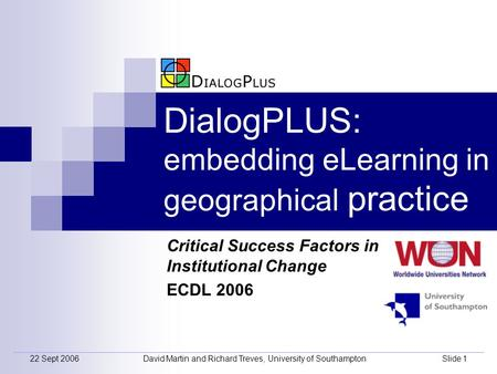22 Sept 2006David Martin and Richard Treves, University of SouthamptonSlide 1 DialogPLUS: embedding eLearning in geographical practice Critical Success.