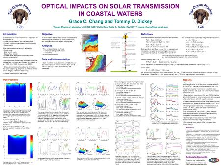 (a) (b) (c) (d) (e) (a)(b) (c)(d) OPTICAL IMPACTS ON SOLAR TRANSMISSION IN COASTAL WATERS Grace C. Chang and Tommy D. Dickey 1 Ocean Physics Laboratory,