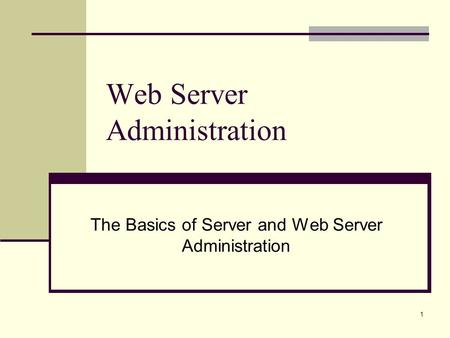 1 Web Server Administration The Basics of Server and Web Server Administration.
