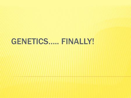 GENETICS….. FINALLY!.  We all have different traits/characteristics  Traits – eye color, hair color and texture, height, etc.