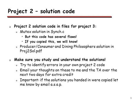 Project 2 – solution code