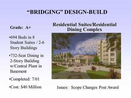 """BRIDGING"" DESIGN-BUILD Residential Suites/Residential Dining Complex 694 Beds in 8 Student Suites / 2-6 Story Buildings 732-Seat Dining in 2-Story Building."