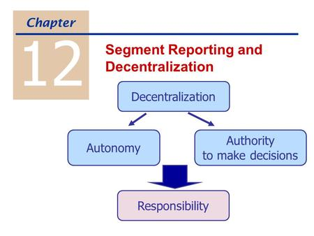 Decentralization Autonomy Authority to make decisions Responsibility 12 Segment Reporting and Decentralization Chapter.