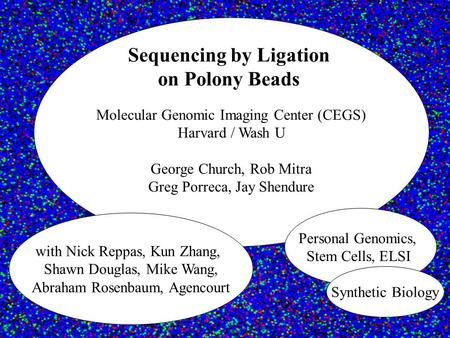 Molecular Genomic Imaging Center (CEGS) Harvard / Wash U George Church, Rob Mitra Greg Porreca, Jay Shendure Sequencing by Ligation on Polony Beads with.
