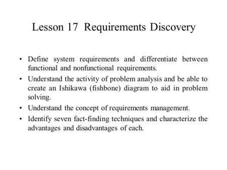 Lesson 17 Requirements Discovery
