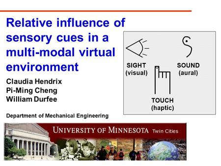 Relative influence of sensory cues in a multi-modal virtual environment Claudia Hendrix Pi-Ming Cheng William Durfee Department of Mechanical Engineering.
