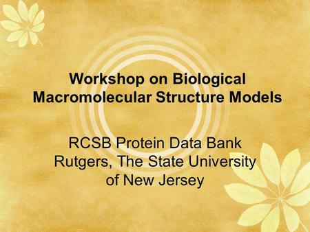 Workshop on Biological Macromolecular Structure Models RCSB Protein Data Bank Rutgers, The State University of New Jersey.