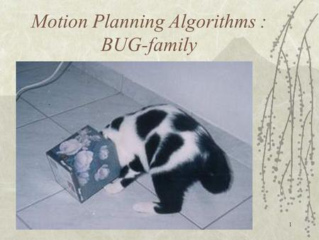 1 Motion Planning Algorithms : BUG-family. 2 To plan a path  find a continuous trajectory leading from initial position of the automaton (a mobile robot)