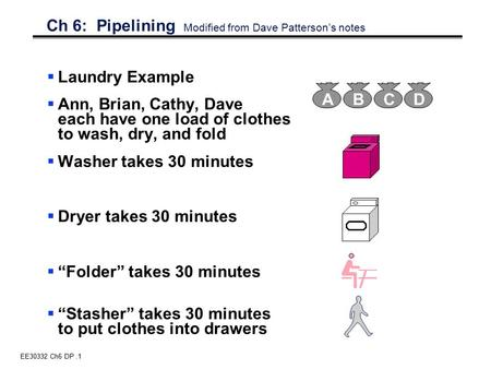 EE30332 Ch6 DP.1 Ch 6: Pipelining Modified from Dave Patterson's notes  Laundry Example  Ann, Brian, Cathy, Dave each have one load of clothes to wash,