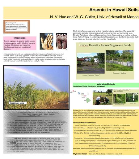 Arsenic in Hawaii Soils N. V. Hue and W. G. Cutler, Univ. of Hawaii at Manoa Introduction: Chronic exposure to arsenic (As) is known to cause adverse health.