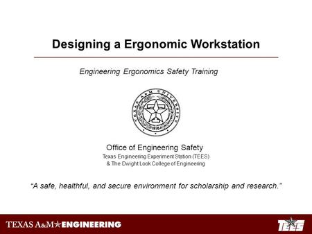 Designing a Ergonomic Workstation Engineering Ergonomics Safety Training Office of Engineering Safety Texas Engineering Experiment Station (TEES) & The.