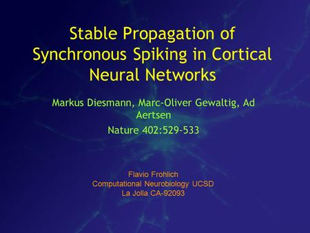 Stable Propagation of Synchronous Spiking in Cortical Neural Networks Markus Diesmann, Marc-Oliver Gewaltig, Ad Aertsen Nature 402:529-533 Flavio Frohlich.