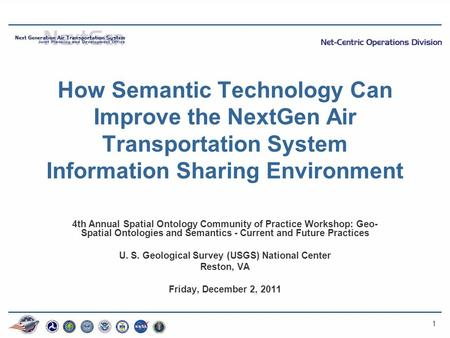 1 How Semantic Technology Can Improve the NextGen Air Transportation System Information Sharing Environment 4th Annual Spatial Ontology Community of Practice.