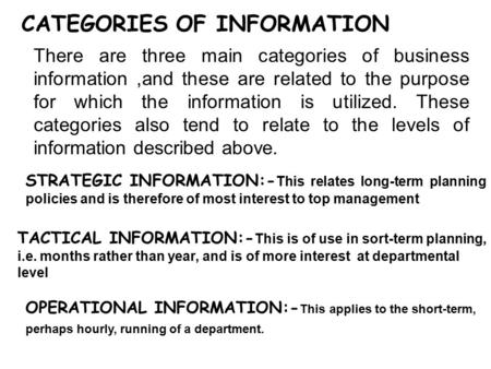 CATEGORIES OF INFORMATION There are three main categories of business information,and these are related to the purpose for which the information is utilized.