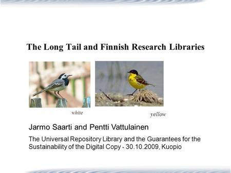 The Long Tail and Finnish Research Libraries Jarmo Saarti and Pentti Vattulainen The Universal Repository Library and the Guarantees for the Sustainability.