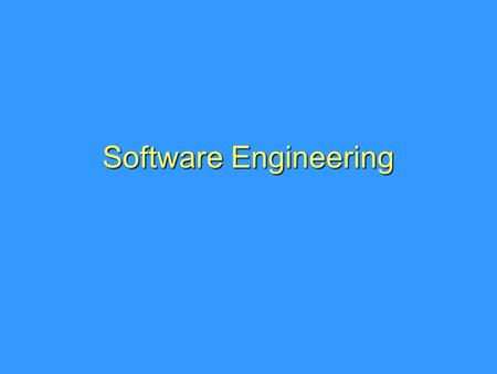 Software Engineering.