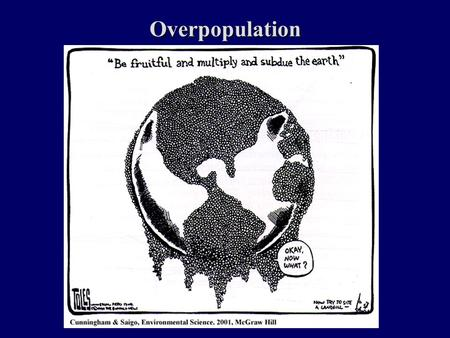 Overpopulation. Issues to Be Considered Population Growth – fertility rates, social and cultural roles, government roles Economic problems – debt, hunger.
