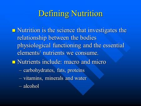 the science of nutrition studies relationship