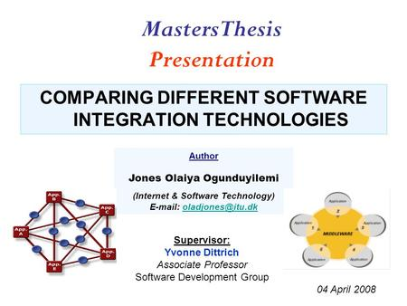 COMPARING DIFFERENT SOFTWARE INTEGRATION TECHNOLOGIES Author Jones Olaiya Ogunduyilemi (Internet & Software Technology)