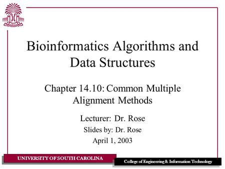 UNIVERSITY OF SOUTH CAROLINA College of Engineering & Information Technology Bioinformatics Algorithms and Data Structures Chapter 14.10: Common Multiple.