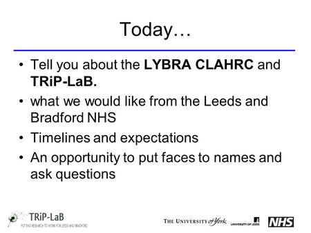 Today… Tell you about the LYBRA CLAHRC and TRiP-LaB. what we would like from the Leeds and Bradford NHS Timelines and expectations An opportunity to put.