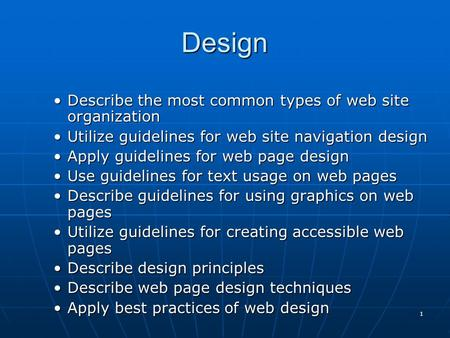 Design Describe the most common types of web site organization