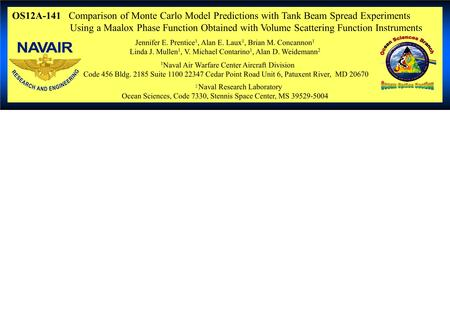 OS12A-141 Comparison of Monte Carlo Model Predictions with Tank Beam Spread Experiments Using a Maalox Phase Function Obtained with Volume Scattering Function.