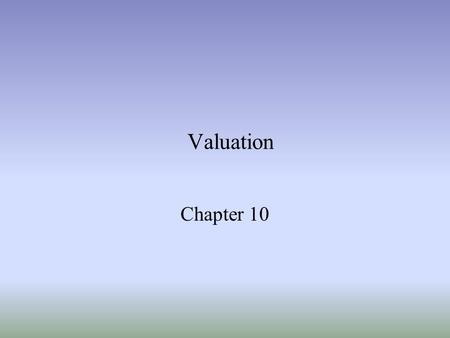 Valuation Chapter 10. Ch 102 Valuation models –Discounted cash-flow –Market-based (multiples) –Residual income Model DCF and risidual income model are.