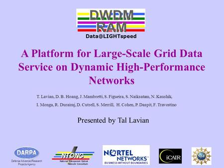 # 1 A Platform for Large-Scale Grid Data Service on Dynamic High-Performance Networks DWDM RAM DWDM RAM Defense Advanced Research Projects.