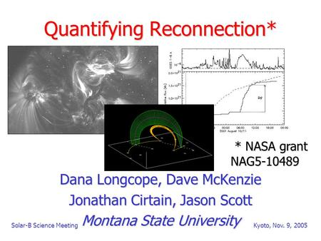 Solar-B Science MeetingKyoto, Nov. 9, 2005 Quantifying Reconnection* Dana Longcope, Dave McKenzie Jonathan Cirtain, Jason Scott Montana State University.