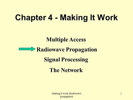 Making it work: Radiowave propagation 1 Chapter 4 - Making It Work Multiple Access Radiowave Propagation Signal Processing The Network.
