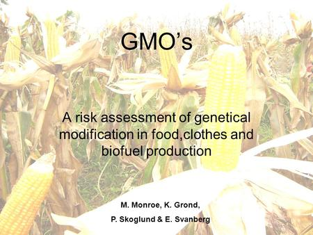 M. Monroe, K. Grond, P. Skoglund & E. Svanberg GMO's A risk assessment of genetical modification in food,clothes and biofuel production M. Monroe, K. Grond,
