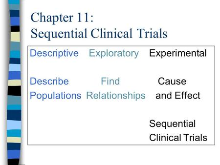 Chapter 11: Sequential Clinical Trials Descriptive Exploratory Experimental Describe Find Cause Populations Relationships and Effect Sequential Clinical.