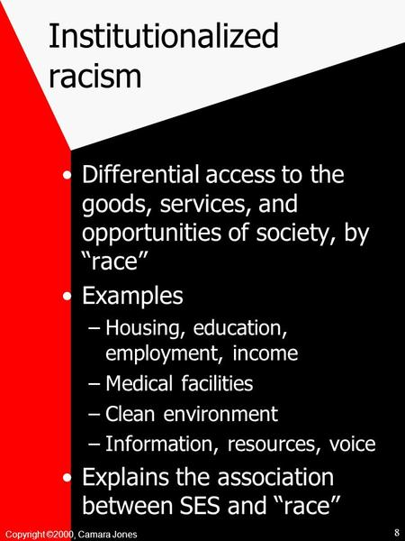 "Copyright ©2000, Camara Jones Institutionalized racism Differential access to the goods, services, and opportunities of society, by ""race"" Examples –Housing,"