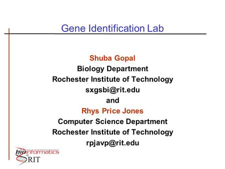 Gene Identification Lab
