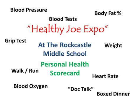 """Healthy Joe Expo"" At The Rockcastle Middle School Personal Health Scorecard Blood Pressure Heart Rate Blood Oxygen ""Doc Talk"" Body Fat % Grip Test Weight."