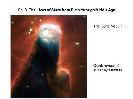 Ch. 9 The Lives of Stars from Birth through Middle Age The Cone Nebula Quick review of Tuesday's lecture.