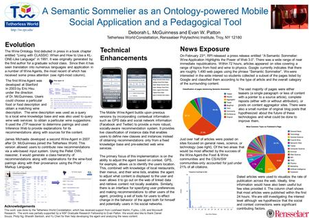 A Semantic Sommelier as an Ontology-powered Mobile Social Application and a Pedagogical Tool Deborah L. McGuinness and Evan W. Patton.