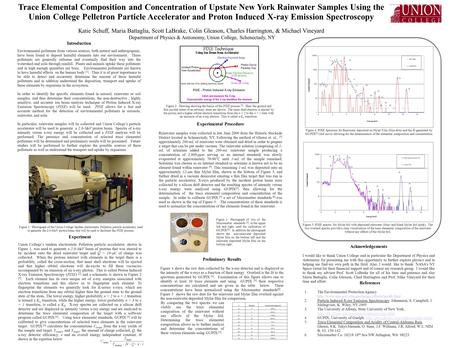 Trace Elemental Composition and Concentration of Upstate New York Rainwater Samples Using the Union College Pelletron Particle Accelerator and Proton Induced.