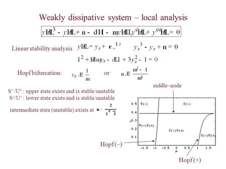 Weakly dissipative system – local analysis Linear stability analysis orHopf bifurcation: S + /U + : upper state exists and is stable/unstable S – /U –