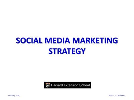 Mary Lou Roberts SOCIAL MEDIA MARKETING STRATEGY January 2010.
